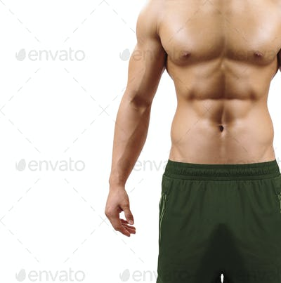 Shirtless muscular guy isolated