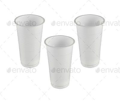 plastic glasses isolated
