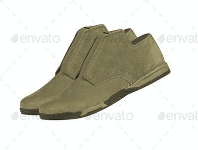 pair of suede shoes isolated