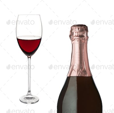 Champagne bottle and champagne glass isolated