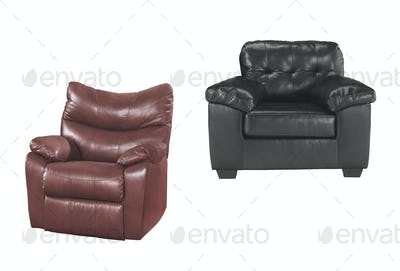 Brown and black chairs isolated
