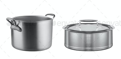 stainless pans isolated