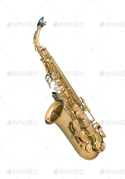 Tenor sax golden saxophone isolated