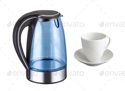 Kettle with cup isolated