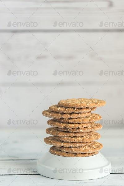 Stack of crispbread with sesame seeds