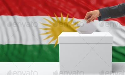 Woman's hand is voting with a waving Kurdistan flag background, 3d illustration