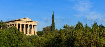 Athens, Greece. Hephaestus temple on blue sky background