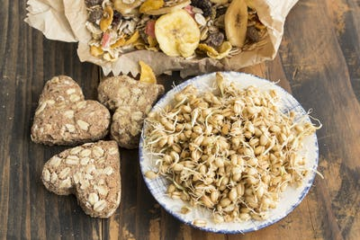 Healthy Eating, Sprouted Wheat, Whole Wheat Cookies and Muesli