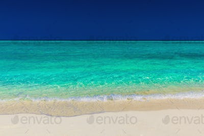 Vibrant green tropical sea, sand and blue sky