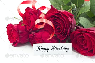 Happy Birthday Card with Bouquet of Red Roses