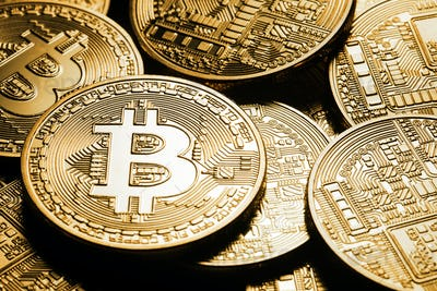 Business background from the world currency bitcoin