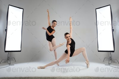 Backstage shooting two beautiful ballerinas in the studio