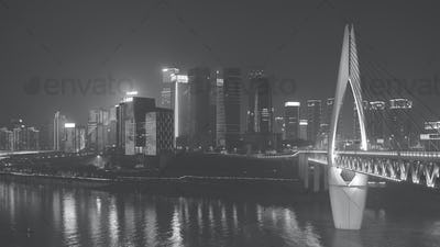Chongqing downtown at night, China.