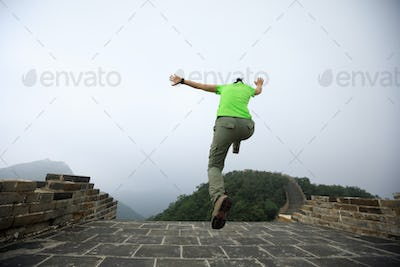 Hipster woman jumping