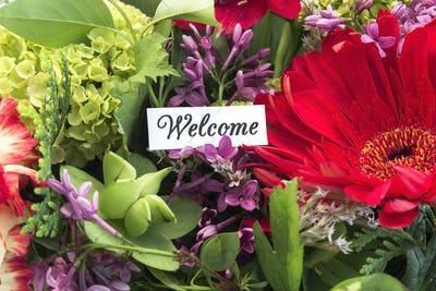 Welcome Card with Spring Flowers