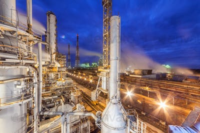 Chemical plant on night time.