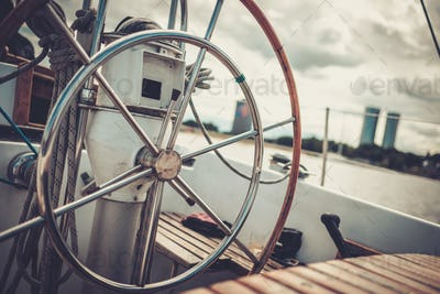 Steering wheel on a yacht