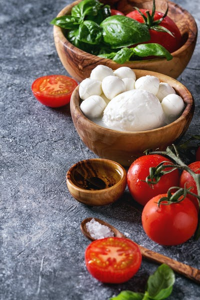 Ingredients for caprese salad