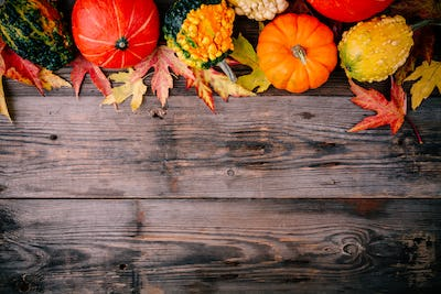 Colorful pumpkins and fall leaves on wooden background. Top view