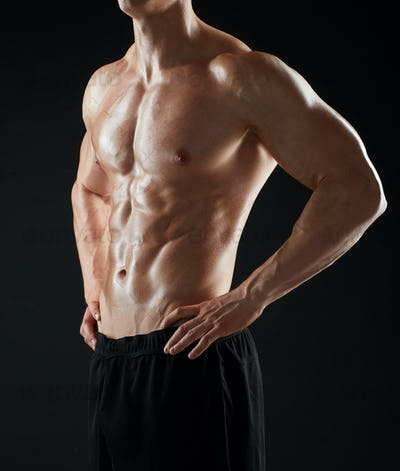 close up of man or bodybuilder with bare torso