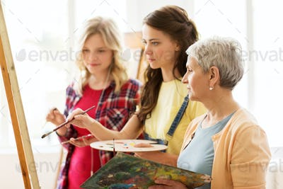 women with easel and palettes at art school
