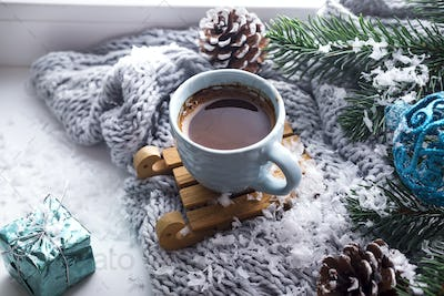 blanket with a cup of coffee