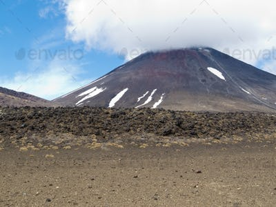 Active volcano cone Mount Ngauruhoe New Zealand
