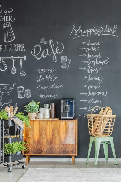 Kitchen interior with coffee maker