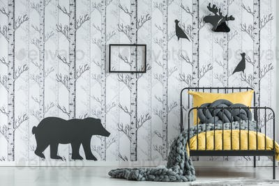 Bedroom with black animal sticker