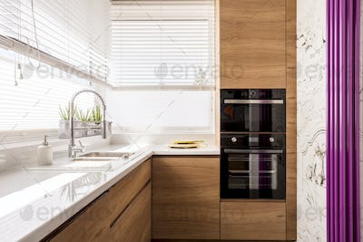 Modern kitchen with wood accents