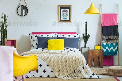 Bedroom with mix of colors