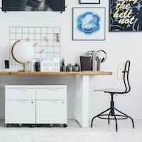 Double desk in workplace