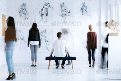 Man in art center