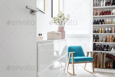 Elegant closet with blue armchair