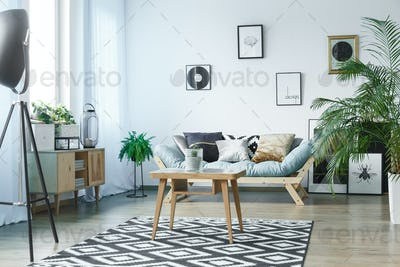 Room with wooden rustic furniture