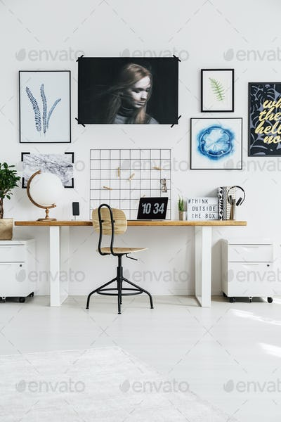 Stylish white workplace
