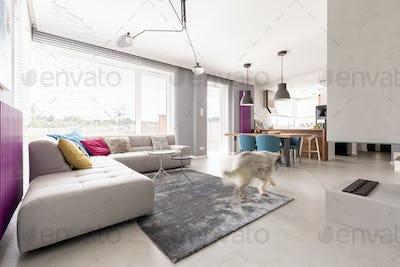 Concrete fireplace and big sofa