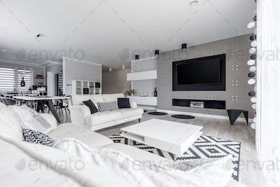 Living room in high-end loft