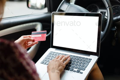 Girl shopping in car using laptop