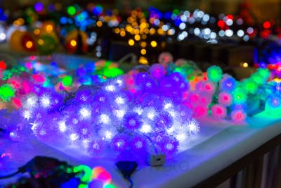 Christmas decoration closeup, lights, xmas garland
