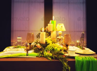 Romantic dinner, table with food decoration