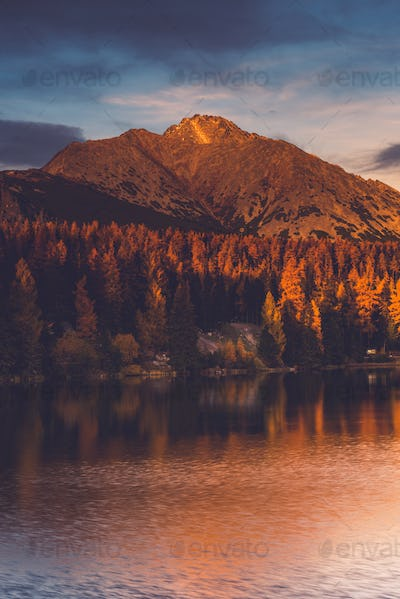 Strbskie Pleso Lake in Slovakia mountains Tatra