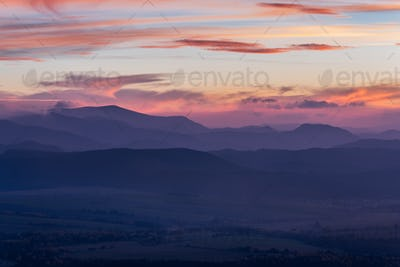 Stunning view over valley in high Tatra mountains after sunset