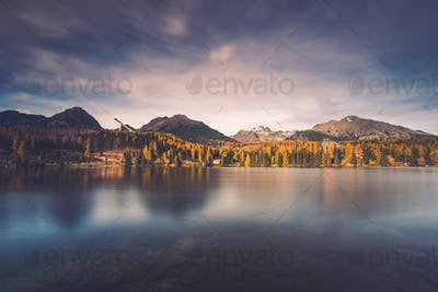 Lake in high Tatra mountains, toned image