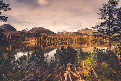 Lake in high Tatra mountains, toned image