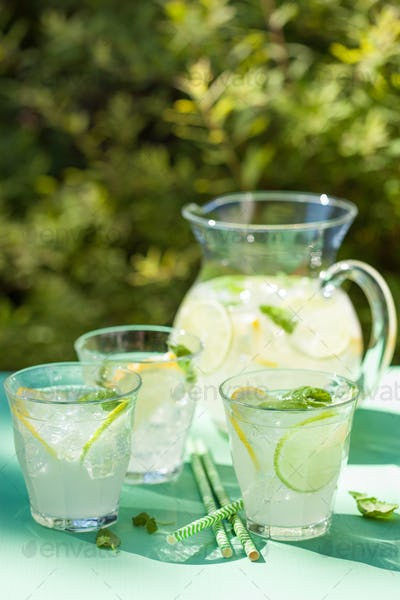 refreshing lemonade drink with mint lime lemon in garden