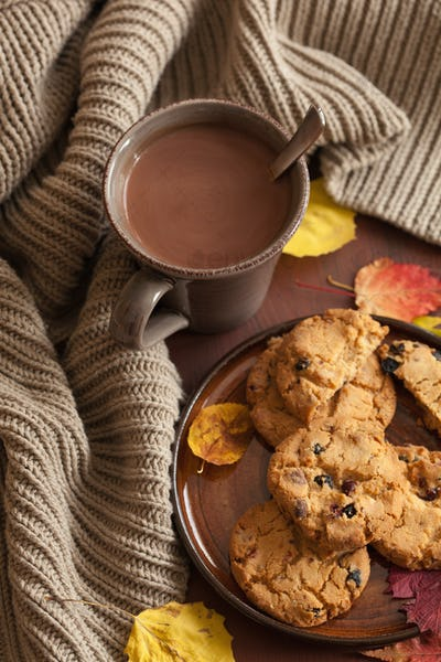 hot chocolate warming drink wool throw cozy autumn leaves