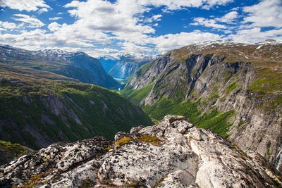 mountain view on Eikesdalen from Aurstaupet viewpoint near Aursj