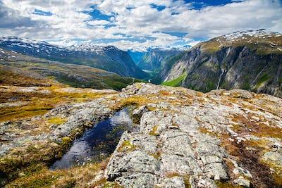 mountain view on Aurstaupet waterfall near Aursjovegen, Norway