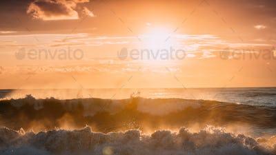 Sun Shining Over Horizon At Sunset Or Sunrise. Evening Sea. Ocea